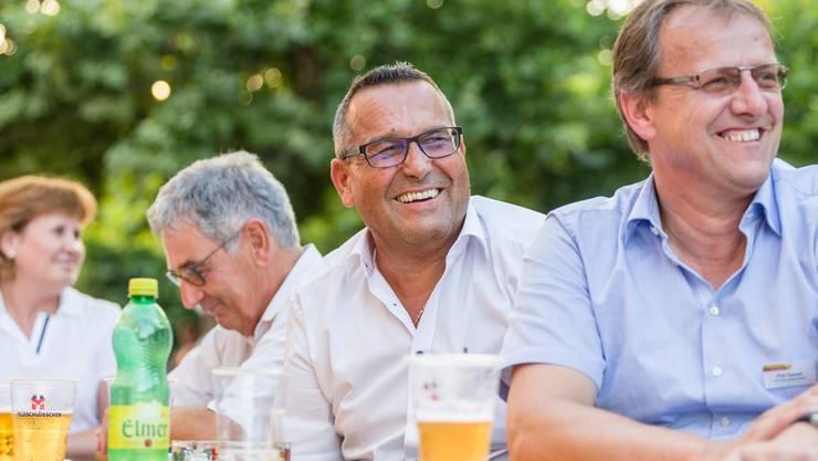 Vizeammann Christian Habegger (l). und Gemeindeammann Daniel Pfyl (r.) an der 1.-August-Feier am 31. Juli in Mägenwil.