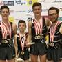 vl. Teamschweizermeister Luc Waldner, Léon Weiss, Noa Wyss und Fabio Hug.