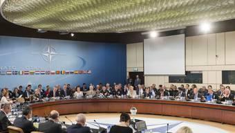 Die NATO-Verteidigungsminister bei ihren Beratungen am Mittwoch in Brüssel.
