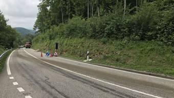Die Strasse zwischen Biel-Benken und Liesberg wurde durch auslaufende Gülle verschmutzt.