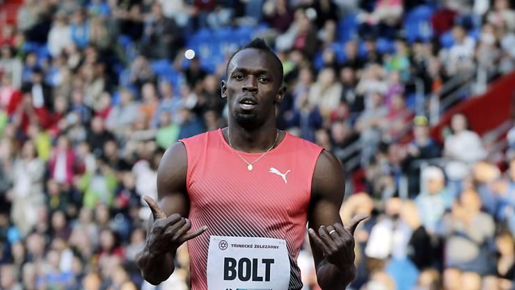 Usain Bolt nach seinem Sieg über 100 m (9,98 Sekunden) im tschechischen Ostrava