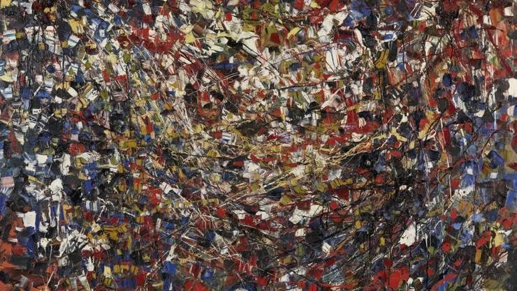 """Das Gemälde """"Composition"""" (1951) von Jean-Paul Riopelle ist Teil der Ausstellung """"Stunde Null"""" im Kunsthaus Zürich. Sie läuft vom 7. Juni bis 22. September 2019."""