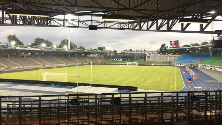 Das Stadion in Linz ist hinter einem Tor offen.