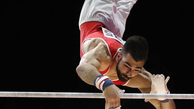 Oliver Hegi am Reck an der EM in Glasgow, wo er die Goldmedaille gewann