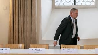 Medienkonferenz zum Fusionsprojekt Rheintal+ mit den Gemeindeammännern von Bad Zurzach, Baldigen, Böbikon, Kaiserstuhl, Mellikon, Rekingen, Rietheim, Rümikon und Wislikofen aufgenommen am 8. September 2019 in der Propstei Wislikofen.
