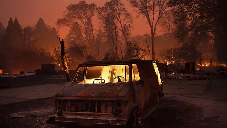 """In Kalifornien hat es erstmals seit Monaten ausgiebig geregnet. Die Regenfälle haben dabei geholfen, das """"Camp""""-Feuer nördlich von San Francisco einzudämmen. (Archivbild)"""