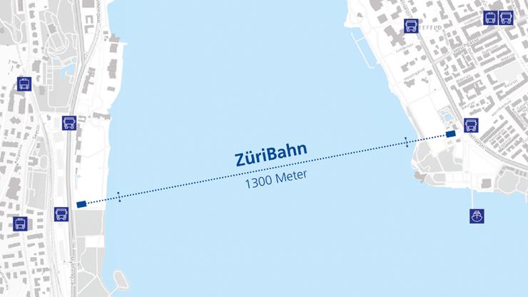 Die Züri-Bahn verkehrt auf einer 1.3 Kilometer langen Strecke über den See.