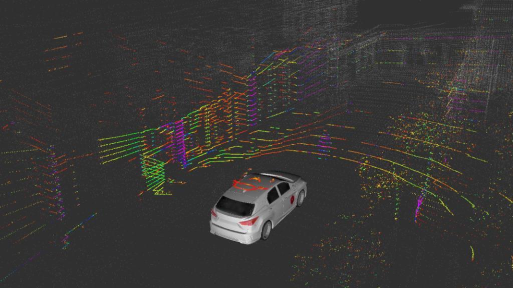 Ein Laserscan der Empa-Teststrecke: Die Forschenden möchten einen Sehtest für selbstfahrende Autos entwickeln und untersuchen dazu, wie die Sensoren im Fahrzeug die Umgebung erfassen. (Pressebild)