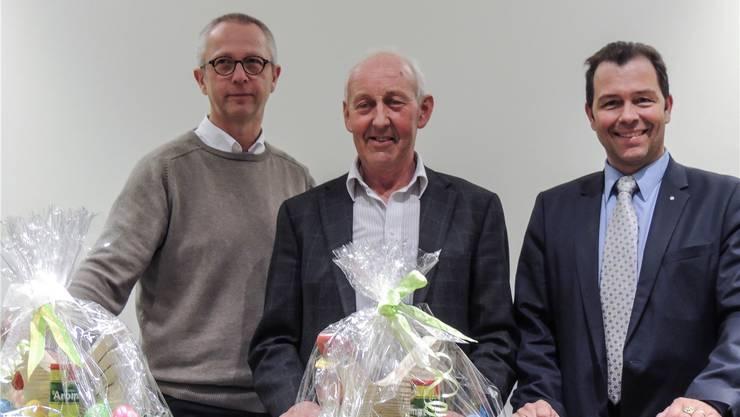 Hausarzt Dr. Roli Schumacher, Josef Villiger, Leiter der Kerngruppe Info 60+, und Marco Beng, CEO Kreisspital Muri.