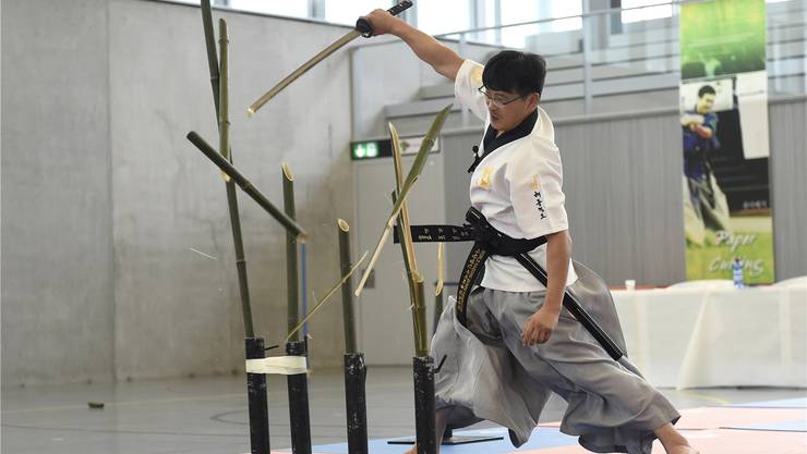 Meister Tae-Kyoung Lee zeigte an den Schweizer Schwertkampfmeisterschaften eine spektakuläre Vorführung. Alex Wagner