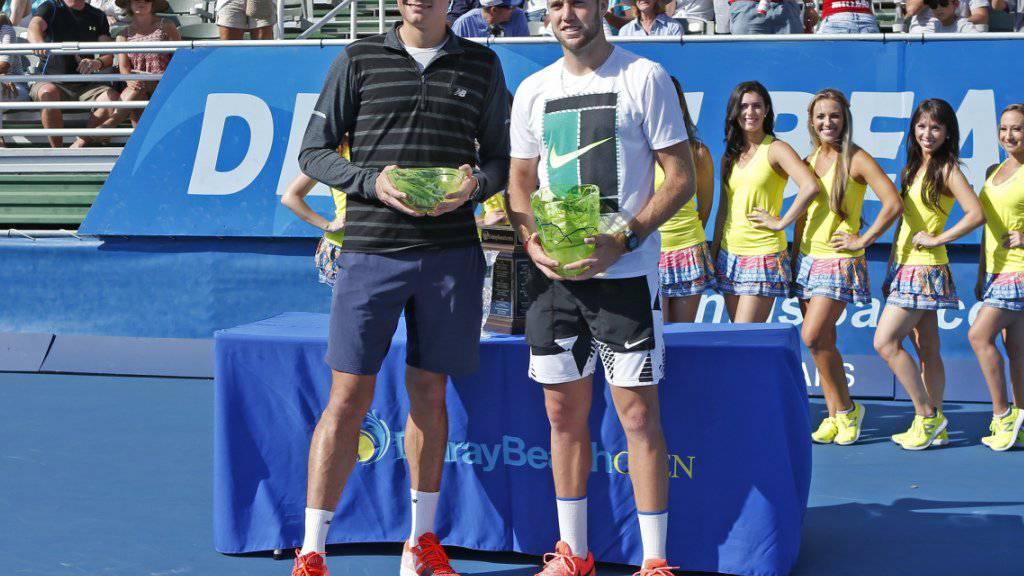 Kein schöner Moment: Siegerehrung für Milos Raonic (rechts) und Jack Sock (links) in Delray Beach ohne einen Final
