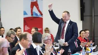 Jürg Stahl unmittelbar nach seiner Wahl zum neuen Präsident von Swiss Olympic.
