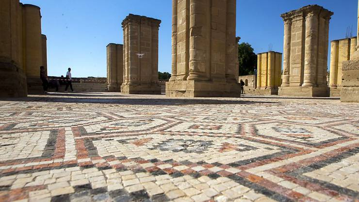 Das riesige Bodenmosaik im Palast Hisham in Jericho wird restauriert.