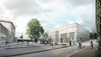 Links das alte Kunsthaus Zürich, rechts der geplante Erweiterungsbau.