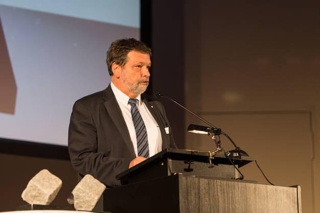 Roland Heim (Landamman Solothurn) bei seinem Grusswort. Medienpreis Aargau / Solothurn 2018 im Stadttheater Olten. (30. April 2018)