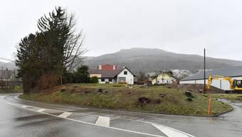 Die links im Hintergrund sichtbare Liegschaft-Marti sowie das rechts davon stehende Bahnwärterhäuschen müssen wegen der vorgesehenen Linienführung der Umfahrungstrasse abgerissen werden.