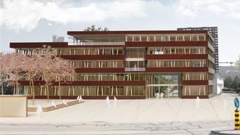 Das neu geplante Gemeindehaus fällt deutlich kleiner aus als das ursprüngliche Projekt auf dieser Visualisierung. Beim überarbeiteten Projekt wurde das Dachgeschoss gestrichen, und der Bau wird weniger lang. (Visualisierung)