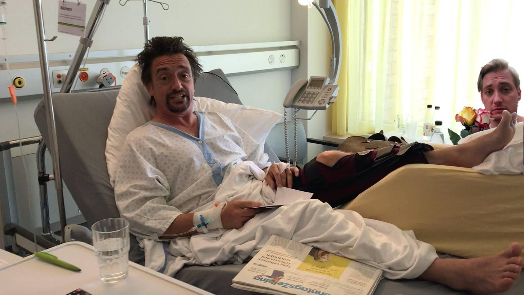 So weit kam ich leider nicht. Ich im Krankenzimmer von Richard Hammond.