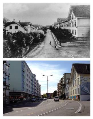 Oben Ziegelfeldstrasse um 1900, unten wie sie heute aussieht. Fotos: Zvg
