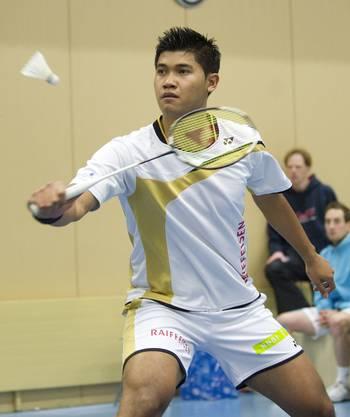 Solothurn's Titon Hustaman während dem NLA Badmintonspiel zwischen Solothurn und Yverdon