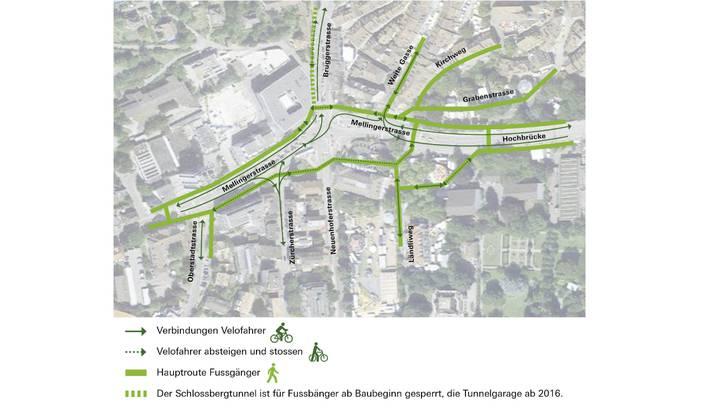 Das sind die Routen für den Fahrrad- und Fussverkehr.