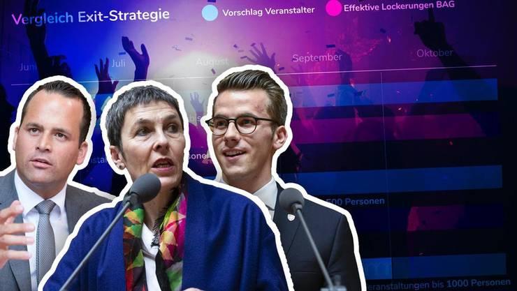 Eigenverantwortung statt Lockerungskritik: So reagieren drei Politikerinnen und Politiker. (Bilder: Keystone, Montage: watson)