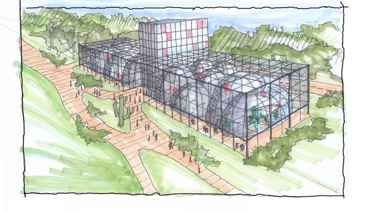 Skizze: Sukkulenten-Sammlung. Sie soll ein Teil der Zürcher Parklandschaft werden.