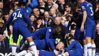 Chelseas Spieler nach dem befreienden 1:0 von Olivier Giroud