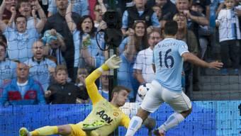 Sergio Aguero erzielt seinen zweiten Treffer