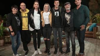 """""""Sing meinen Song""""-Teilnehmende, Chartstürmer, Freunde fürs Leben: Francine Jordi, Ritschi, Steff la Cheffe, Stefanie Heinzmann, Seven, Marc Storace, Loco Escrito (v.l.n.r.)."""