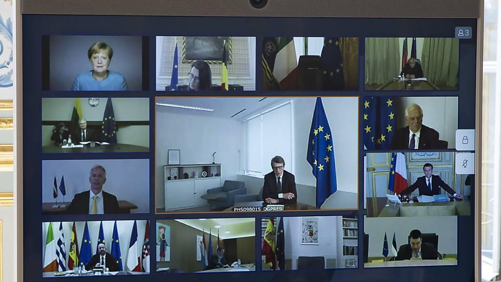 EU-Gipfel per Video: Die 27 EU-Chefs diskutieren am Freitag über den mehrjährigen EU-Haushalt und einen Milliarden schweren Wiederaufbaufonds, mit dem sie die wirtschaftlichen Folgen der Corona-Pandemie abfedern wollen. Dabei wird auch über gemeinsame EU-Schulden gesprochen. (Archiv)