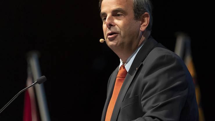 CVP-Präsident Gerhard Pfister spricht an der Delegiertenversammlung der CVP Schweiz in Langenthal.