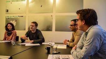 Karin Stoll, Finanzen, Arsène Perroud, Geschäftsführer, Alex Meyer, Präsident VJF, und Lukas Vogt, das neue Mitglied der Geschäftsleitung, an der Pressekonferenz (von links). Toni Widmer