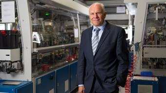 Swissmem-Chef Hans Hess beim Kabelhersteller Reichle & De-Massari: «Es ist nicht zu viel verlangt, wenn wir fordern, dass die Politik die Rahmenbedingungen für die Exportbranchen verbessert.»
