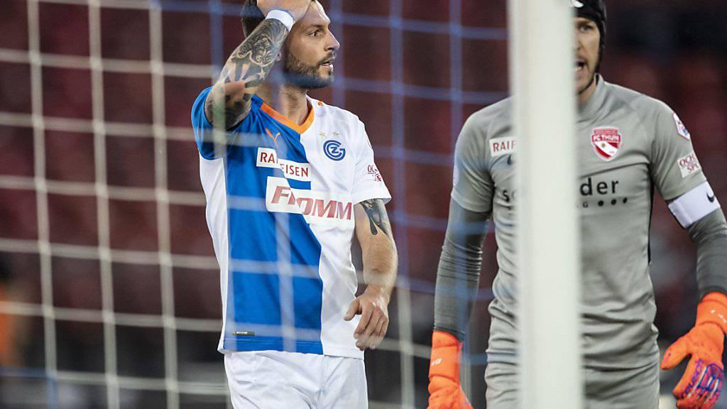 Schon wieder eine grosse Chance vergeben:  Marco Djuricin im Spiel gegen Thun (1:1). Rechts der Thuner Goalie Guillaume Faivre