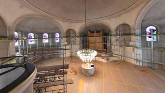 Einzig die farbigen Kirchenfenster erinnern an das Gotteshaus: Die Orgel (hinten) und der Altar (unterhalb der Lampe) sind dick eingepackt.