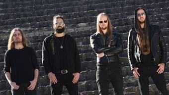 Die vier Musiker von Schammasch A.T, B.A.W, C.S.R.und M.A (von links) treten nur unter Pseudonymen auf.