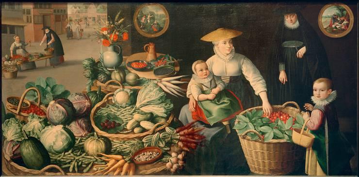 Die Fülle des Sommers: Der «Gemüsemarkt» von 1590 im Kunsthistorischen Museum Wien von Jan Baptist Saive d.Ä  .