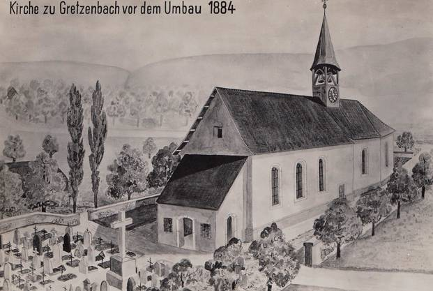 Die Kirche war vor 1884 kleiner und hatte noch nicht ihren markanten Eingangsturm.