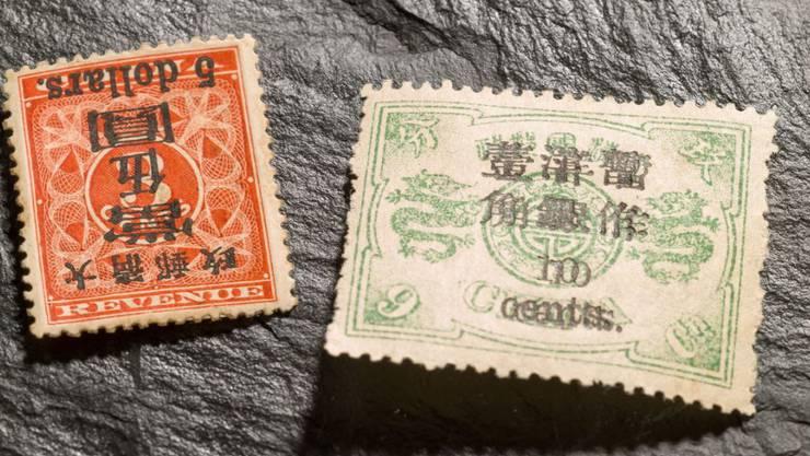 Diese zwei seltenen Briefmarken aus China kommen am 22. Mai im Auktionshaus Rapp in Wil SG unter den Hammer.