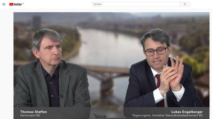 Einigermassen beruhigende Nachrichten per Videokonferenz: Kantonsarzt Steffen und Gesundheitsdirektor Engelberger.