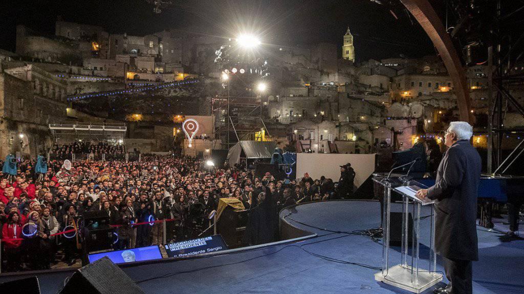 Staatspräsident Sergio Mattarella nahm in der süditalienischen Stadt Matera an der Eröffnungsfeier teil.