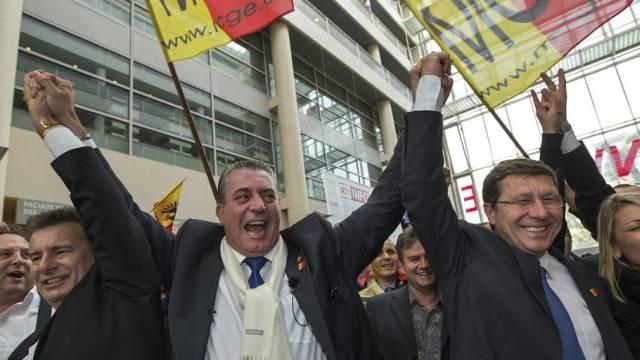 Die MCG-Kandidaten Stauffer (Mitte) und Poggia (rechts) (Archiv)