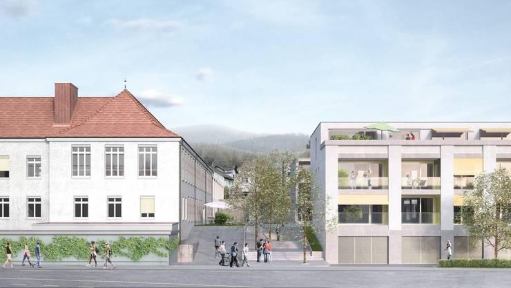 So wird das gesamte Frey-Areal dereinst aussehen: links das sanierte Industriegebäude, rechts die Mehrfamilienhäuser mit den 1½- bis 4½-Zimmer-Wohnungen. Visualisierung: zvg