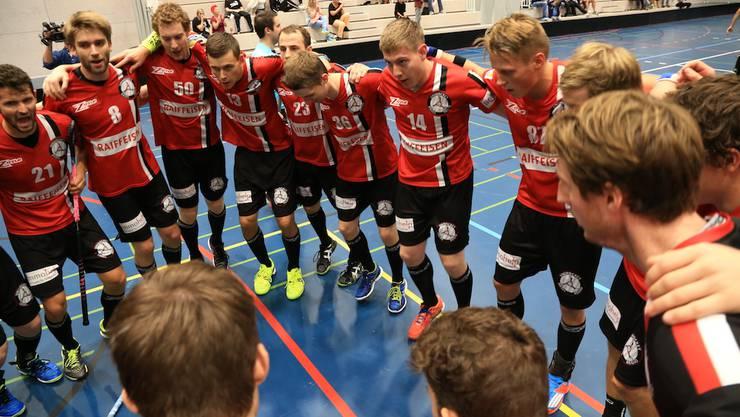 Die Basler Unihockeyaner jubeln über die Playoff-Halbfinalqualifikation.
