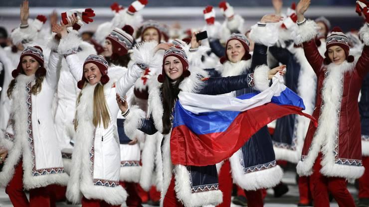 Da war von Doping noch keine Rede: Die russischen Athleten an der Eröffnungsfeier der Olympischen Winterspiele in Sotschi 2014.