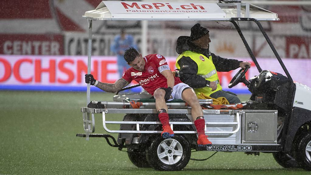 Dennis Hediger erlitt in der Partie am 10. Februar 2019 zwischen Thun und den Young Boys eine schwere Knieverletzung.