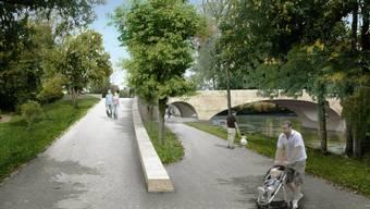 Brückenkopf der neuen Aarebrücke «Pont Neuf».