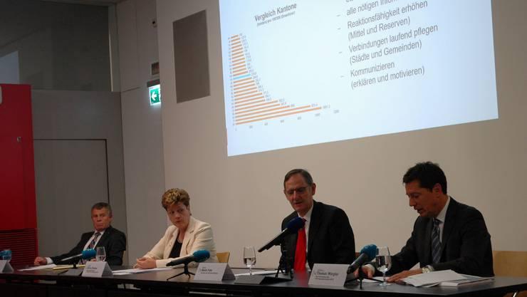 """Die Regierungsratsmitglieder Ernst Stocker, Silvia Steiner, Mario Fehr sowie Thomas Würgler erklären den Übergang zur """"ordentlichen Lage""""."""
