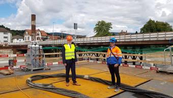 """Besichtigung der Baustelle """"Neue Aarebrücke/Pont Neuf"""" mit Regierungsrat Stephan Attiger"""